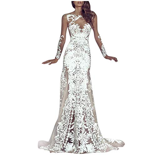Sheer See-Through Petite Lace Dress for Women Trumpet Mermaid Bridal Maxi Gown for Party Wedding Vacation (White, XL)