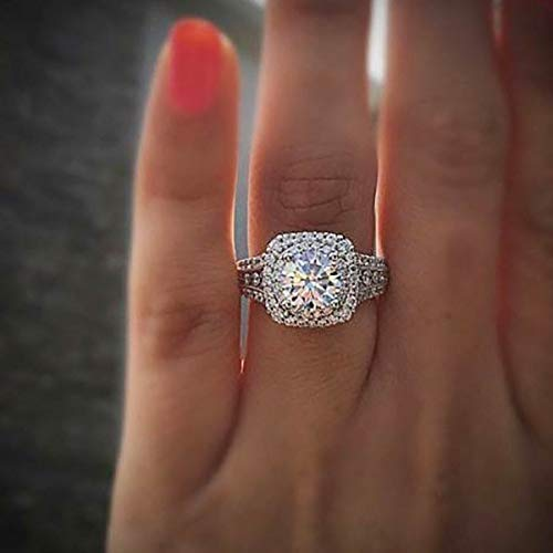 Huxindao Silver Plated Micro Pave Hand Simulation Diamond Rings Zircon Ring...