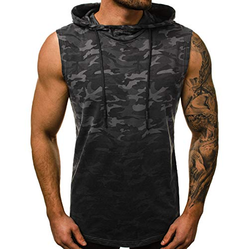 Men Hoodies,sleeveless Camouflage Men Hoodie Sweatshirts Elasticity Breathable Cotton Men Hooded Pullover for Sports