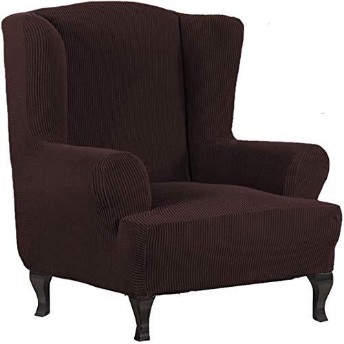 CENPENYA Acquard Armchair Cover, Armchair Throws Wing Chair Cover Cover Armchair Cover Elastic Stretch Cover for Wing Chair Wing Chair Cover (Brown)