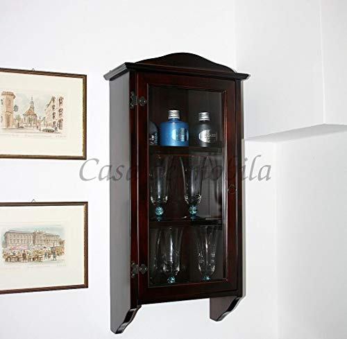 Casa Massivholz Hängevitrine kolonial lackiert Glasvitrine Schwarzbraun Sammlervitrine Hängeschrank schmal