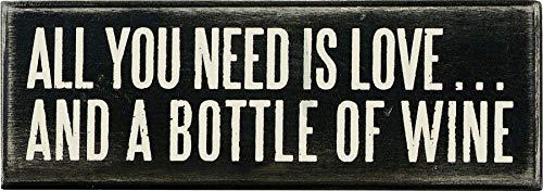 des éléments par Kathy Box Sign, 7 par 6,3 cm, Amour et Une Bouteille de vin