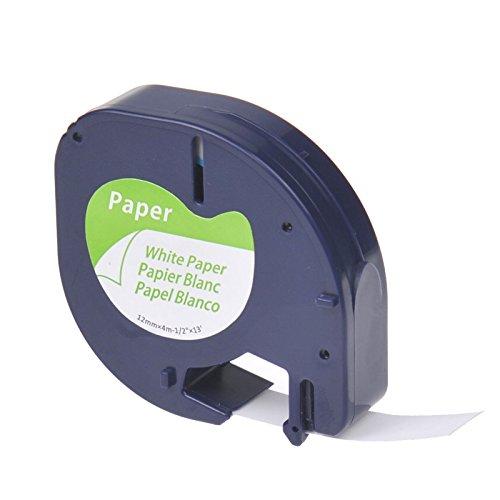 NineLeaf Ersatz Dymo 10697 91220 91200 S0721520 Papierband Selbstklebendes Papieretiketten LetraTag LT-110T LT-100H LT-100T PLUS QX-50 XM 2000 XR Etikettierger?te 12mm x 4m Schwarz auf Wei? 1 rollen