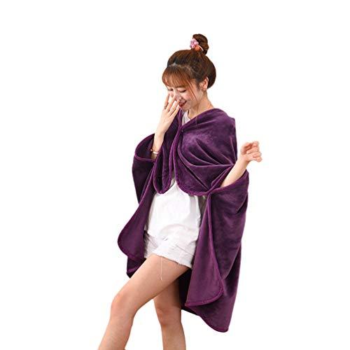 DianShaoA Flanell Multifunktionale Umhang Decke Wärme Decke Siesta Decke Lila 100 * 140cm