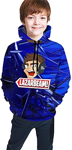 Sudadera con capucha y logotipo de Lazarbeam de manga larga para adolescentes y niñas, color negro