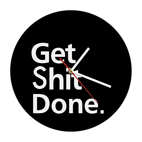 gongyu Get Shit Done Reloj de Pared Reloj Decorativo para Tus Paredes Motivo de la Vida Lema Arte de la Pared Reloj de Pared Hombre Cueva Reloj de Oficina