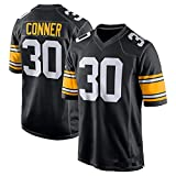 YANDDN Maillot de Rugby, Pittsburgh Steelers Ben Roethlisberger 7, 19# 30# Maillot de Rugby Brodé Fan Edition-black3-XL