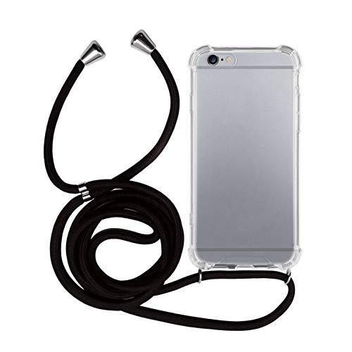 MyGadget Handykette für Apple iPhone 6 / 6s TPU Hülle mit Band - Handyhülle mit Handyband zum Umhängen Kordel Schnur Case Schutzhülle - Schwarz