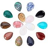 PandaHall 15 juegos de cabujones de piedras preciosas naturales, cabujones de joyería, sin fornituras de latón en tono platino, forma de gota, 25x18x6 mm