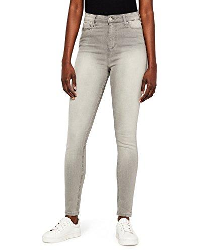 Amazon-Marke: MERAKI Damen Skinny Jeans mit hohem Bund, Grau (Grey), 34W / 32L, Label: 34W / 32L
