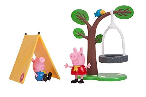 Jazwares 92691 - Peppa Wutz Camping Spaß Spielset mit beweglicher Peppa und Schorsch Spielfigur, Abenteuer Set mit Baum Schaukel und Rutsche, Original Peppa Pig Spielzeug für Kinder ab 2 Jahren