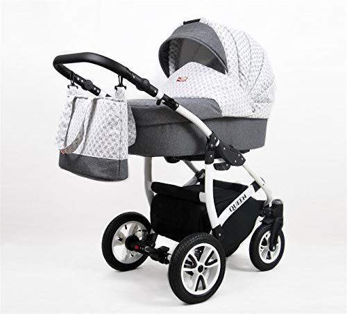 Cochecito de bebe 3 en 1 2 en 1 Trio Isofix silla de paseo Queen by SaintBaby Grey Braid 3in1 con Silla de coche