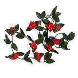 FS 8ft Artificial Red Rose Flower Garland - Wedding Trellis Garden