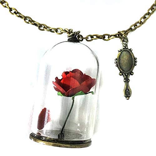 Belle Enchanted Necklace Jewelry Merchandise - Beauty Rose Necklace for Cosplay
