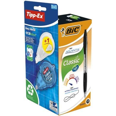 Promo Box 12 bolígrafos Bic Atlantis Classic negro + 1 corrector Tipp-ex + rellenador