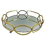 yotijar Bandeja con Espejo Noble 30cm Organizador Decorativo de Metal Candelero Decoración del Hogar