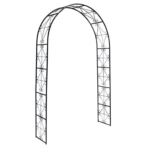 YICOL Vintage Garden Arch, Steel Wedding Arbor with Curled Scrollwork for Lightweight Climbing Plants,Weddings, Party Decoration, Black
