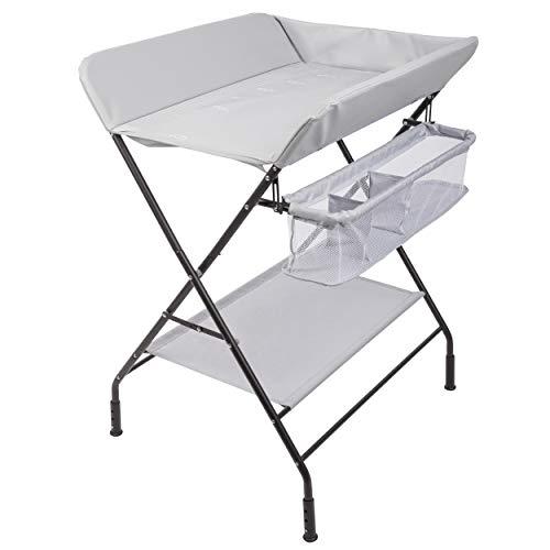 ONVAYA Cambiador plegable | cómoda cambiador con cojín | ahorra espacio y móvil | Combinación de cambiador con estante y cesta de almacenamiento | Altura regulable | Carga máxima de hasta 15 kg