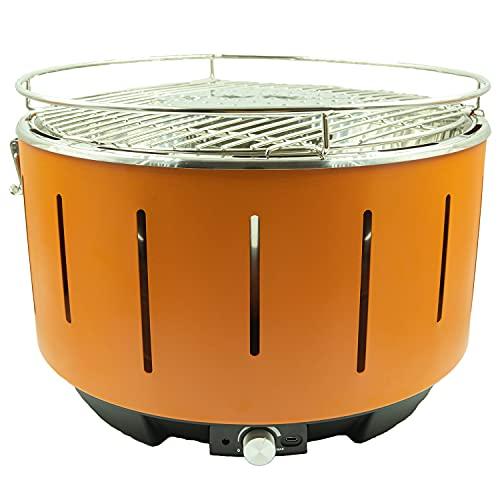 BARBECUE A CARBONELLA PORTATILE BBQ CARBONE NO FUMO VENTOLA DA TAVOLO ELETTRICO (Arancione)