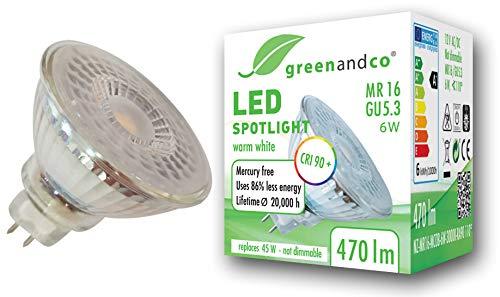 greenandco® CRI90+ 3000K 110° LED Spot ersetzt 45W GU5.3 MR16, 6W 470lm warmweiß 12V AC/DC, flimmerfrei, nicht dimmbar, 2 Jahre Garantie