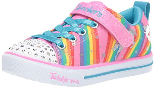 Skechers Kids Girls' Sparkle LITE-Magical Rainbows Sneaker, Multi, 11 Medium US Little Kid