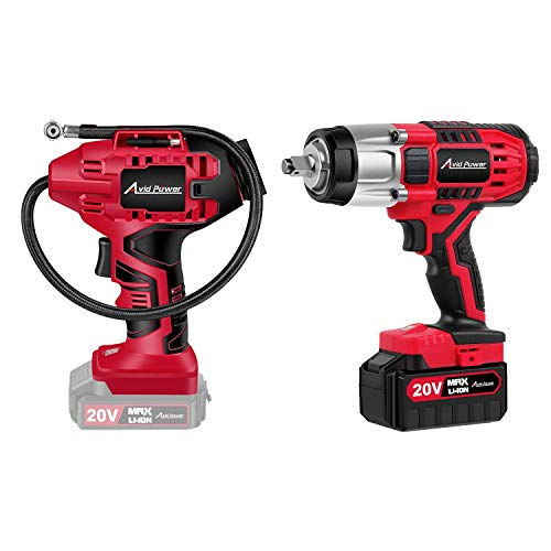 Avid Power Cordless Impact Wrench Bundle with Tire Inflator Air Compressor