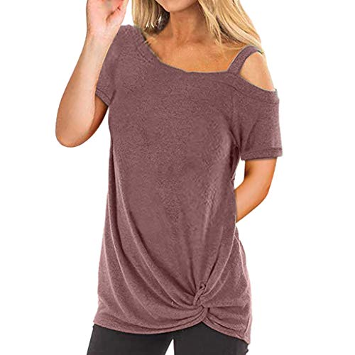 TWIFER Kurzärmeliges Damen T-Shirt Kurzarm Reine Farbe Top Fashion T Shirt Sommer Bluse