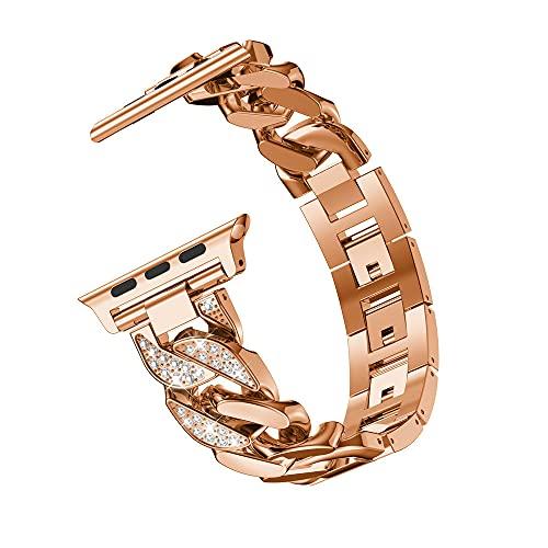 G-RF 22mm Universal Bandas De Reloj, 38mm/40mm Y 42mm/44mm para Apple Watch 1/2 / 3/4 / 5/6 / SE Series Correa (22mm,Oro Rosa)