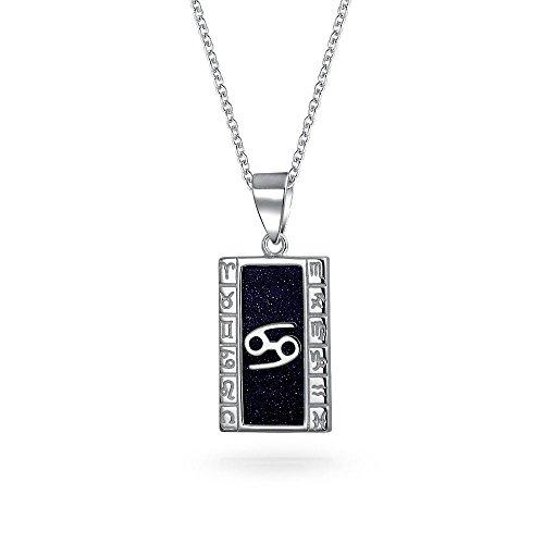 Bling Jewelry Azul Goldstone Cáncer Signo Zodiaco Astrología Horóscopo Perro Placa Mujer Hombres Collar Colgante Plata Esterlina 925