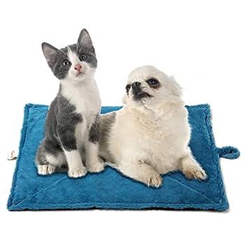 Toozey Couverture auto-chauffante pour chat et chien, taille 68 × 48 cm/90 × 65 cm, tapis chauffant pour animaux de compagnie, couverture pour chat Bleu S