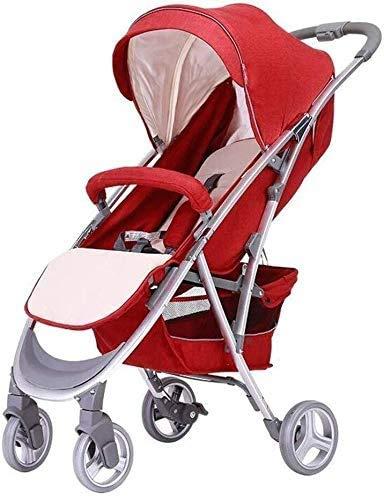 DAGCOT Cochecito de bebé, portátil con un solo botón plegable de viaje Ultra-Light puede sentarse reclinado Amortiguador bebé recién nacido cochecito yangmi (Color : Red)