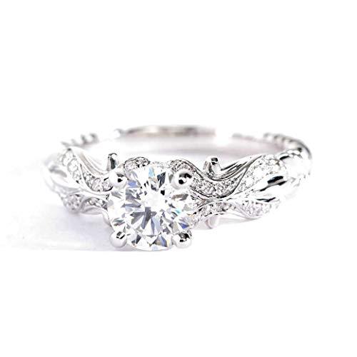 Anillo de compromiso de platino con diamante de corte redondo SI2 H de 1 quilate