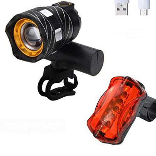 YZSL USB fietslampen met 1 zwanenlicht, waterdichte led-mini-fietslamp, met 3000 mAh, handig voor paarden buitenshuis, zwart