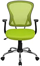Flash Furniture Mid-Back Green Mesh Swivel Task Chair with Chrome Base and Arms
