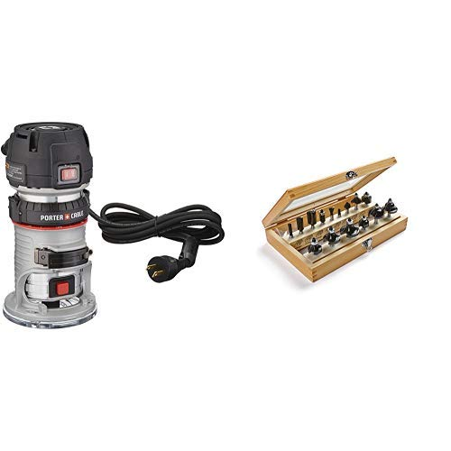 Read About PORTER-CABLE 450 1.25 HP Compact Router with 1901048 Marples Deluxe Router Bit Set (15 Pi...