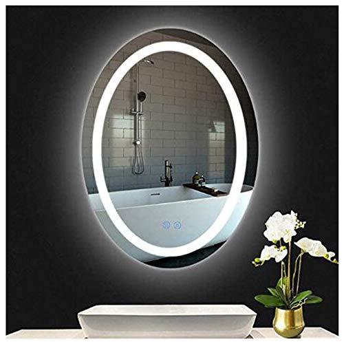 Inteligente Espejo De Baño, Anti Niebla Iluminado Luz LED Interruptor Tactil Montado En La Pared Oval Area De Aseo Baño Cuenca Espejo De Afeitar De Maquillaje,Sin Bordes,600 * 800mm