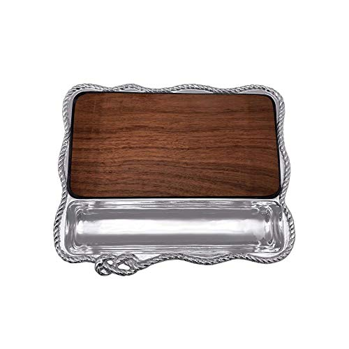 Mariposa Rope Cheese Board with Dark Wood Insert, Silver, Medium