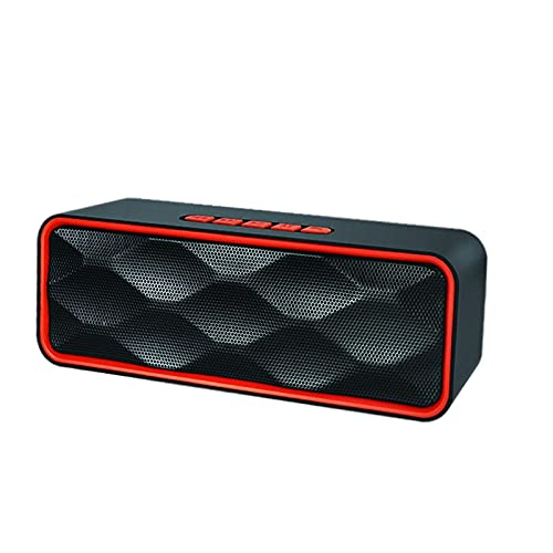 Baoblaze Altavoz Bluetooth Recargable HD Sonido ABOERING Bass USB AUX AUX Incorporado Mic Altavoces para Exteriores para Party Indoors Smartphones Manos Libres - Rojo