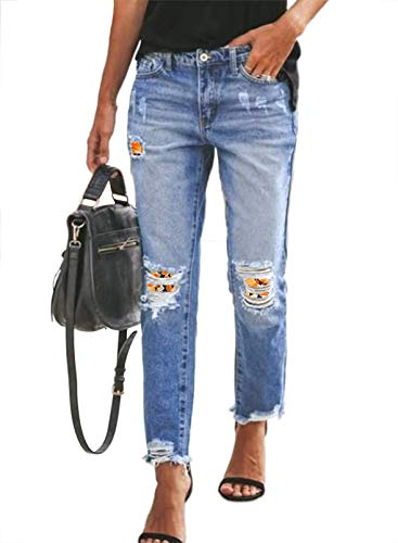 Sidefeel Women Floral Patchwork Destroyed Mid-Waist Loose Jeans Denim Pants Small Yellow