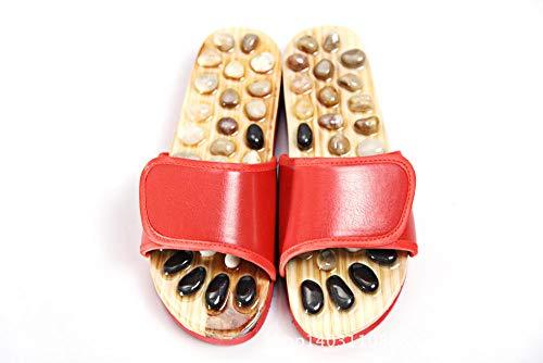 Nwarmsouth Casa Interior sin Cordones, Zapatillas de Masaje de pies, Sandalias Antideslizantes de Punto de acupuntura-Red_39, Sandalias de Fitness