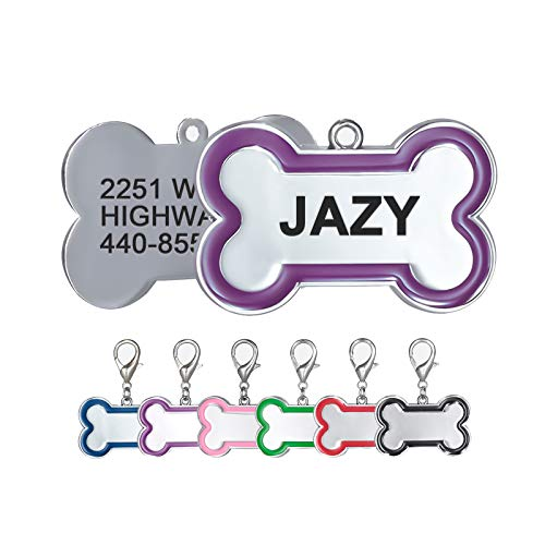 Personalized Dog Tags and Cat Tags Name Front and Back Custom Engraved Bone Shape Pink Red Black Royal Blue Green Purple Gift for Pets, 6 Colors (Small, Purple)