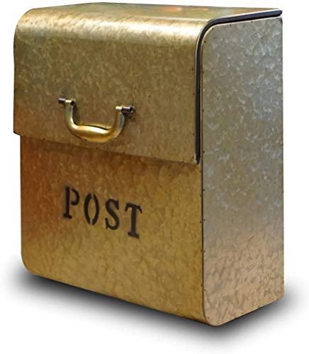 NACH FZ-M1002 CJ Powder Coated Finish Wall Mounted Post Box Metal Mailbox, 12.6 x 6.9 x 14.2 Inches, Golden Metallic