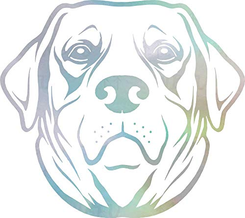 NBFU Decals Labrador Retriever Cute Face Dog Animal 1 (Hologram) (Set of 2) Premium Waterproof Vinyl Decal Stickers Laptop Phone Accessory Helmet Car Window Bumper Mug Tuber Cup Door Wall Decoration