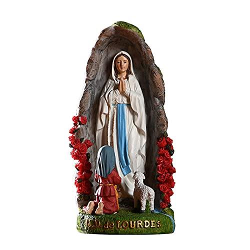 ZDZDQQ Statua Religiosa della Vergine Maria Chiesa Cattolica Ornamento in Resina per La Casa Statua Colorata Dipinta Statuetta in Resina Statua per Decorare Giardino, Soggiorno, Tavolo