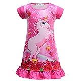 Camisón Unicornio Niña Ropa de Dormir Princesa Pijama Manga Corta Vestido de Caballo Arco Iris Rainbow Camisones 2-7 años/130cm/Rosa roja