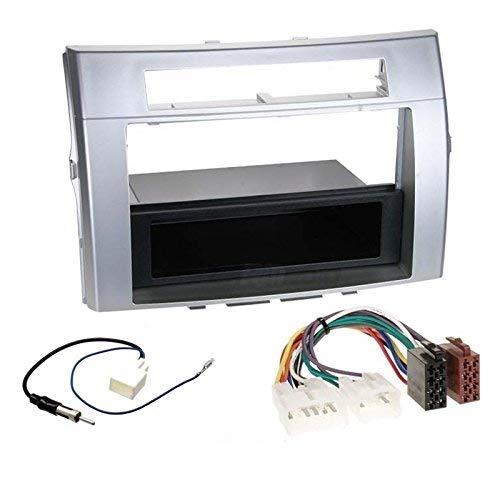 Sound-way Autoradio Kit Montaggio, 1/2 DIN Mascherina Stereo, Connettore Cavo ISO, Adattatore Antenna, compatibile con Toyota Corolla Verso 2004-2009