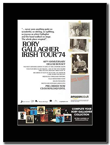 gasolinerainbows - Rory Gallagher - Irish Tour '74 - Magazin Promo-Artwork auf Einer schwarzen Halterung - Matted Mounted Magazine Promotional Artwork on a Black Mount