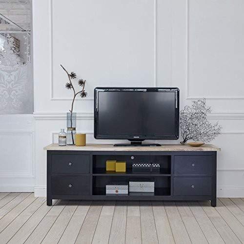 Meuble TV en Bois d'acajou et Teck 4 tiroirs