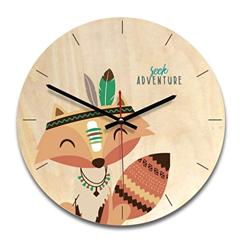 Relógio BesPORTBLE 1 peça estilo nórdico, estilo conto de fadas, relógio redondo decorativo de madeira para decoração de casa, berçário, quarto