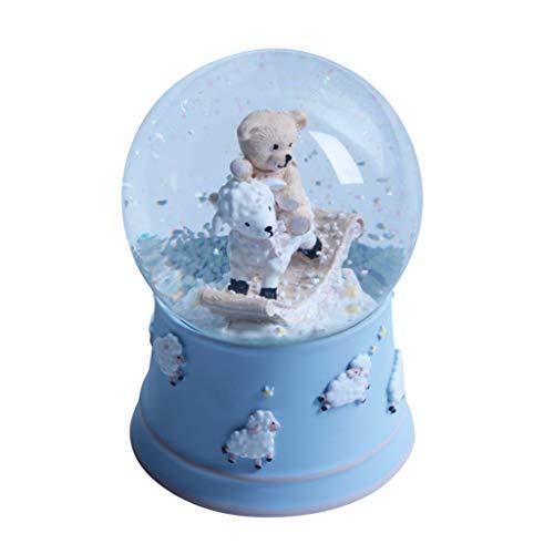 Caja de música giratoria de ovejas con luz nocturna colorida y giratoria automática, caja musical de resina, el mejor regalo para niños y niñas